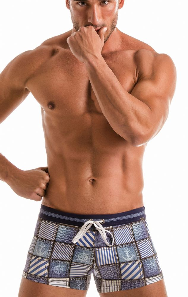 GERONIMO Swimwear Mens Blue Boxer Trunks Square Cut Swimming Suit 1912b1